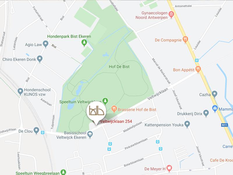 map locatie brasserie hof de bist